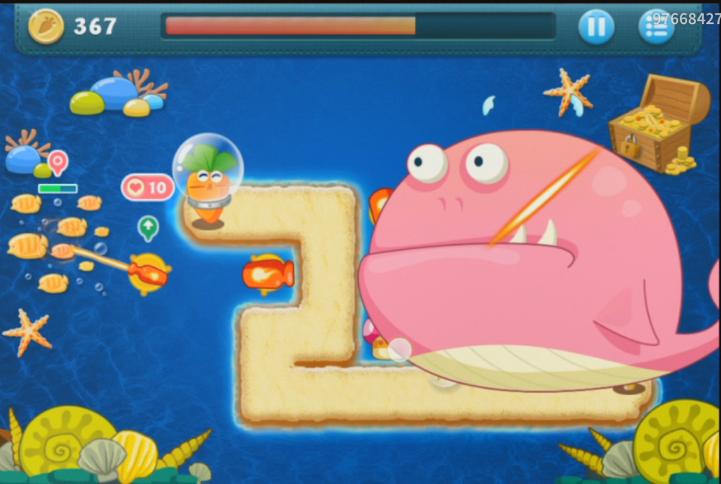 保卫萝卜深海1攻略图解 火炮与鱼刺组合